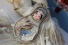 Snegurochka, matrioska doll, handmade embroidery jewellery