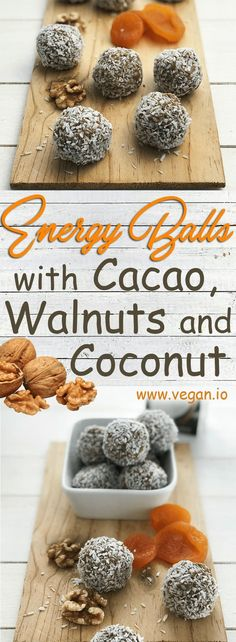 Energy Balls with Cacao, Walnuts and Coconut | Vegan.io | The easist way to follow a vegan diet
