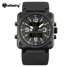 INFANTRY Aviator Watch Square Face Mens Quartz Digital Wristwatches Navy Sports Watches Black Rubber Watchband Relogio Masculino