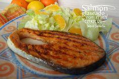 Salmón glaseado con miel y citricos