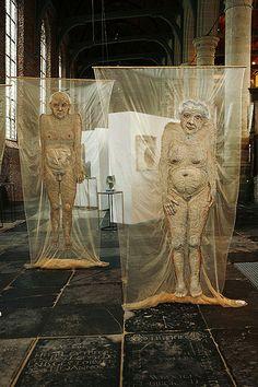 """Textile art. Mieke Werners. Voor haar project """"van oude mensen..."""". S)"""