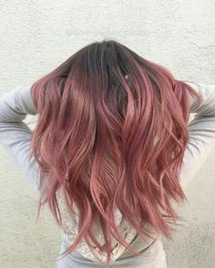 Rose gold hair balayage
