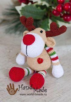 Ciervos de la Navidad Rudolph gancho. Tejer regalos para el día de fiesta!