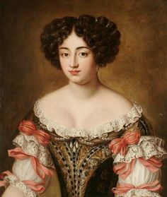 Follower of Jacob Ferdinand Voet (1639-1689) — Portrait of Maria Mancini in a Brown Embroidered Dress with Lace Trim and Pink Bows (592x700)