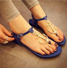 Blue Pattern Anchor Sandals from Baiansy, so amazing! Anchor Sandals, Cute Sandals, Shoes Sandals, Anchor Shoes, Flat Sandals, Navy Anchor, Summer Sandals, Flat Shoes, Boots