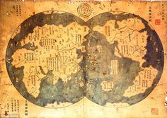 Map of the World? It is claimed that this is an eighth century copy of the map Admiral Zheng He made in 1418. The map clearly shows the new world (right half) - more than 70 years before Columbus discovered it