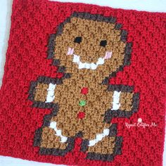 Crochet Gingerbread Man Pixel Square