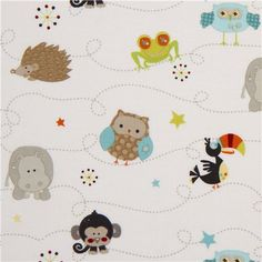 white Riley Blake animal fabric from the USA owl hedgehog