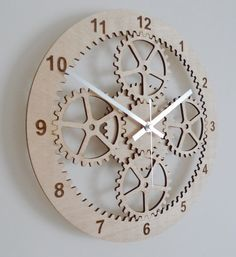 Wooden Gear Clock, Unique Wall Clock, Wooden Clock, Modern Wall Clock…
