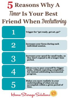 Here are 5 reasons why a timer is your best friend when decluttering {on Home Storage Solutions 101} #decluttering #timer Clutter Control, Home Storage Solutions, Clutter Free Home, Organizing Your Home, Home Look, Getting Things Done, Organization Hacks, Homemaking, Gardening Tips