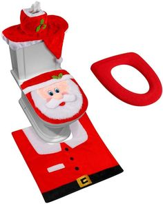 Buy Now D-FantiX Nose Santa Toilet Seat Cover Funny Christmas Decorations Bathroom Set of 5 Make sure this fits by entering your model number. Tissue Box Covers, Tissue Boxes, Funny Christmas Decorations, Holiday Decor, Funny Toilet Seats, Christmas Bathroom Sets, Giant Inflatable, Perfect Christmas Gifts, Christmas Cover