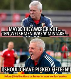 Lions legend....Gatland 2013 Welsh National Anthem, Rugby Funny, Rugby Pictures, Rugby Quotes, British And Irish Lions, Wales Rugby, Rugby Players, Cymru, More Words