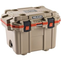 PELICAN 30Q-2-TANORG 30-Quart Elite Cooler (Tan with Orange Trim) #PELICAN