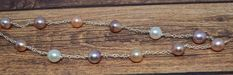 Custom made sterling silver station chain with white, pink, peach, and lavender cultured pearls Cultured Pearls, Pearl Necklace, Lavender, Peach, Beaded Bracelets, Chain, Sterling Silver, Gallery, Pink