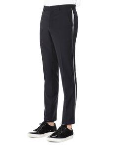 Wool Trousers with Side Stripe, Navy Blue, Men's, Size: 52R - Lanvin