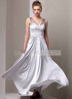 Charming A-Line V-Neck Beading Floor-Length Prom Dress