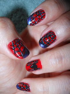 Spider man nails fuuuuunnnnn halloween nailed it nail spiderman nails prinsesfo Choice Image