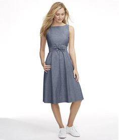 Signature Poplin Dress, Chambray (Indigo) - LL Bean Intl Simple Dresses, Dresses For Work, Women's Dresses, Poplin Dress, Chambray Dress, Winter Outfits Women, Work Attire, Fit And Flare, Dress Skirt