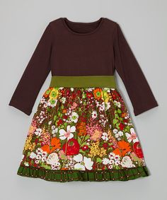 Take a look at this Brown Prairie Petticoat Dress - Infant, Toddler & Girls by Llum on #zulily today!