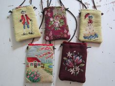 needlepoint cell phone and accessories purse FROM OLD NEEDLEPOINT. Melody Elizabeth handbags Made from recycled leather coats, needlepoints, ribbon, steelcut buckles Love the red roof cottage! Inchies, Diy Sac, Hippy Chic, Tapestry Bag, Recycled Leather, How To Make Handbags, Purse Patterns, Fabric Bags, Vintage Embroidery