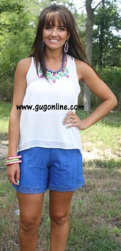 b870b9c2a14f Forever in Lace Shorts in Blue  29.95 www.gugonline.com Giddy Up Glamour