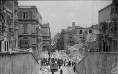 Bomb damage along Kingsway in Valletta, Malta. In the latter half of April 1942, Axis air forces raided the Mediterranean island of Malta over a hundred times.