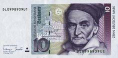 Germany 10 Deutsche Mark banknote of 1999 Carl Friedrich Gauss Carl Friedrich Gauss, Advanced Mathematics, Euro, Miniature Portraits, Darwin, Coat Of Arms, Childhood, Science, Germany
