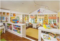 Ultimate playroom - Love the 3 x desk areas under the window!