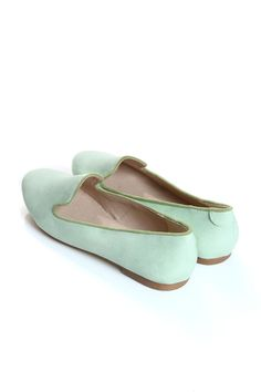 Deena Pistachio Leather Look Slipper Shoes