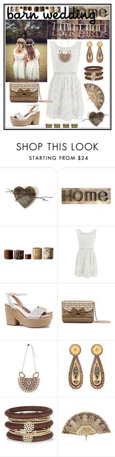 """Barn Wedding"" by giovanina-001 ❤ liked on Polyvore featuring Pier 1 Imports, Bloomingville, MINKPINK, Tory Burch, Anisha Parmar London, River Island, DWBH Homewares, bestdressedguest and barnwedding"