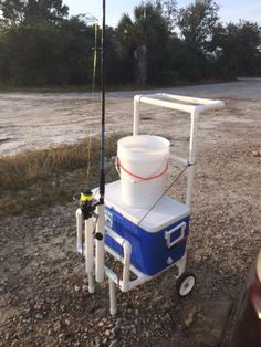 Fishing cart for 80 bucks! All pvc pipe with a few screws to anchor the whole thing together. (Maybe I can make it a seat also) Fishing Pole Holder, Fishing Rod Storage, Pole Holders, Fishing Reels, Gone Fishing, Kayak Fishing, Fishing Tips, Fishing Boats, Saltwater Fishing