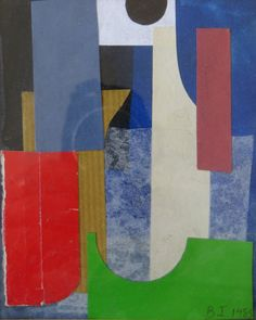 Lot no: 4486. BRYAN INGHAM (b1936) (ARR) :A framed and glazed paper collage, initialled and dated 1985, 15cm x 12cm