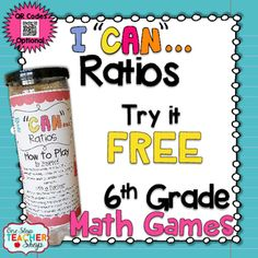 Ratios have never been this much fun! This FREE 6th Grade I Can Math Game focuses on Ratios and Unit Rate, and provides students with practice in the form of multiple choice questions. This game can be used for independent practice, a guided math activity, whole group review, or for progress monitoring.