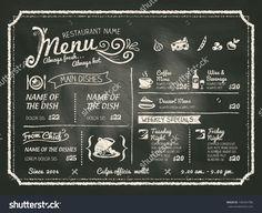 Restaurant Food Menu Design With Chalkboard Background Illustrazione vettoriale d'archivio 196454786 : Shutterstock