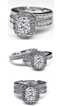 Cushion Diamond Halo Bridal Set