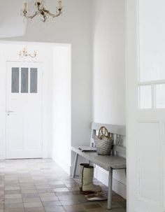 a rustic tiled floor in whites/greys could look great with the all white theme too..