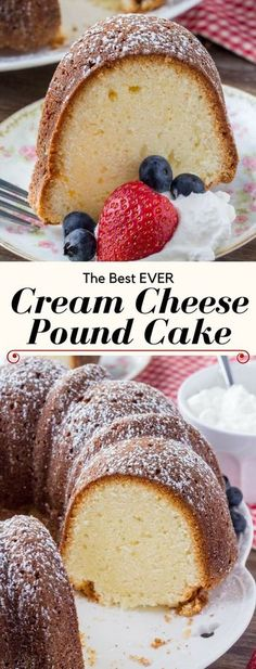 Cream cheese pound cake is rich, buttery, moist and completely delicious. With only 6 ingredients, it's an easy pound cake recipe that never disappoints.It makes for an easy, elegant cake that tastes delicious with whipped cream and fresh berries Easy Pound Cake, Pound Cake Recipes, Easy Cake Recipes, Cupcake Recipes, Baking Recipes, Cupcake Cakes, Dessert Recipes, Cupcakes, Food Cakes