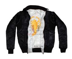 """Scorpion Reversible Drive Jacket  Product Description:   Collar: Round style collar Front Style: Zipper at front (YKK), two slant side pockets Back Style: Scorpion logo at the back Sleeves: Full sleeved Stitching: Sophisticated stitched and designed Inspired From: """"Drive"""" Worn By:"""
