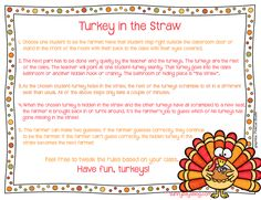 Turkey in the Straw, a Game for Indoor Recess or Brain Breaks!