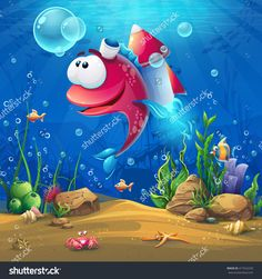 Undersea World With Funny Fish. Marine Life Landscape - The Ocean And The Underwater With Different Inhabitants. For Design Websites And Mobile Phones, Printing. Стоковая векторная иллюстрация 417522259 : Shutterstock