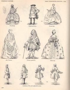 Early 1700's Men's & Women's Fashion.