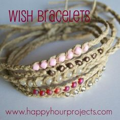 DIY Wish Anklet Bracelet Tutorial from Happy Hour Projects. I posted Happy Hour Projects' Wish Bracelets here. From readers' suggestions, she's adapted them to become ankle bracelets. Hemp Jewelry, Jewelry Crafts, Beaded Jewelry, Handmade Jewelry, Jewellery, Seashell Jewelry, Body Jewelry, Jewelry Ideas, Bracelet Fil