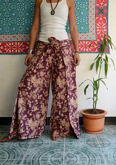 Purple Flower Printed Wide Leg Pants - Flair Bottoms - Beach Summer - Palazzo Pants - Boho chic - Bohemian - Culottes - by TheStoneHoney on Etsy