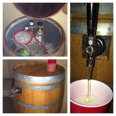 Wine barrel kegerator complete system including co2 tap