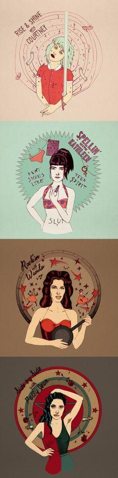 Courtney Love, Kathleen Hanna, Wanda Jackson, PJ Harvey. As powerful as different. By GraceKilling.