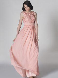 Lace and Chiffon U-Back Dress; Color: Apricot Blush; Fabric: Lace, Chiffon