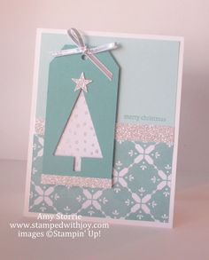 SU! Holiday Home stamp set (sentiment); All is Calm DSP; Tree punch; Silver Glimmer paper; colors are Soft Sky, Lost Lagoon and Whisper White - Amy Storrie