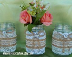 Tarro de masón de arpillera boda rustica por ClaudiasCuteCouture