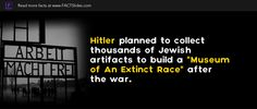 Hitler planned to collect thousands of Jewish artifacts to build a 'Museum of An Extinct Race' after the war. Jewish Museum, To Collect, Interesting History, Extinct, Racing, War, How To Plan, Building, Running