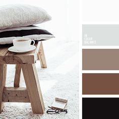 The calm palette that combines natural and natural colors. Nothing flashy and active. Just the feeling of smooth, unhurried leisure. Brown tones and translucent pastel shades look noble and restrained. Black puts great emphasis. This color scheme can apply for registration of a bedroom, living room, hallway.